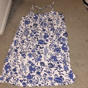 Blue and White with flower designs dress